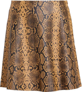 Veda Python-Printed Leather Mini Skirt