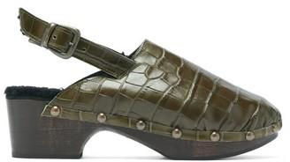 Avec Modération Avec Moderation - Ruka Crocodile-effect Leather And Shearling Clogs - Womens - Dark Green