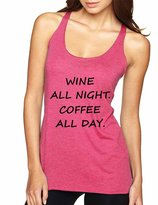 Allntrends Women's Tank Top Wine All Night Coffee All Day Drunk Cool Tee (S, )
