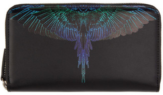 Marcelo Burlon County of Milan Black and Blue Wings Continental Wallet