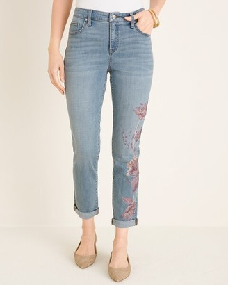 So Slimming Floral-Embroidered Girlfriend Ankle Jeans