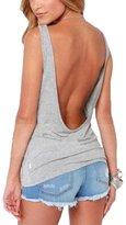 Balleay Women's Active Backless Sexy Short T Shirt Casual Tank Top
