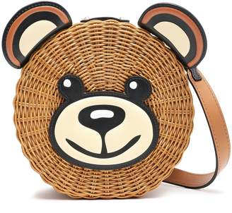 Moschino Leather-trimmed Rattan Shoulder Bag
