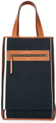 Lutz Morris Saylor Navy Leather-trimmed Canvas Tote