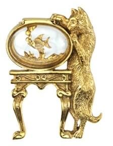 2028 14K Gold-Dipped Crystal Cat and Fish Bowl Pin