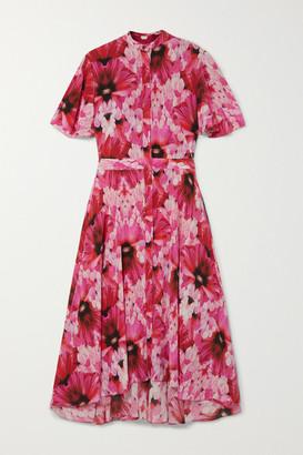 Alexander McQueen Floral-print Silk-georgette Midi Dress - Pink