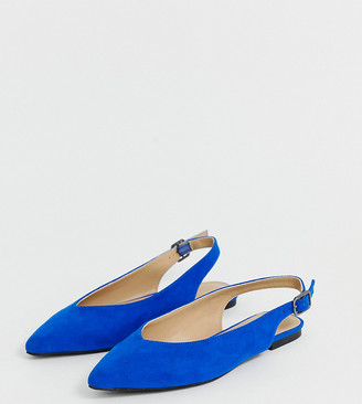 Simply Be extra wide fit Lana pointed flat shoes in cobalt blue