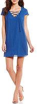Jodi Kristopher Lace-Up V-Neckline Shift Dress