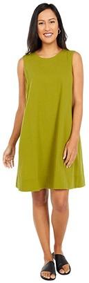 Eileen Fisher Organic Cotton Crepe Round Neck Dress (Mustard Green) Women's Dress