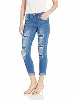 Cover Girl Plus Size High Waisted Cute Ripped and Repair Blue Skinny Juniors