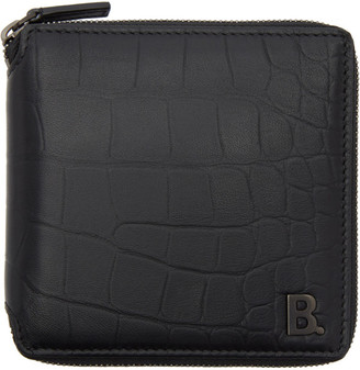 Balenciaga Black Croc Square Wallet