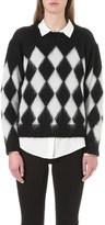 Sandro Clark diamond-pattern mohair-blend knitted jumper