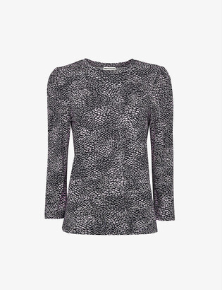 Whistles Puff-sleeved cotton-blend top