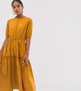 Asos Y.A.S Tall button through tiered smock dress-Green