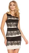 Quiz Black And Stone Lace Panel Bodycon Dress
