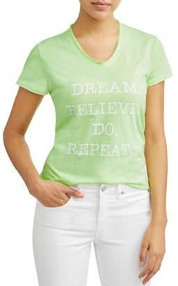 Sofia Jeans By Sofia Vergara Dream Believe Do Short Sleeve V-Neck Graphic T-Shirt Women's
