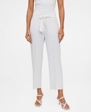 MANGO Women's Belt Crop Pants