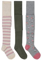 M&Co Stripe cable knit and floral tights three pack