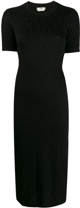 Fendi FF motif knitted pencil dress