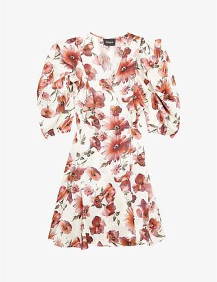 The Kooples Floral satin wrap mini dress