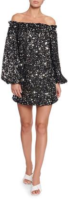 Rotate by Birger Christensen Gloria Off-Shoulder Sequined Short Dress