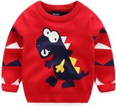 Yollmart Little Boys' Winter Cotton Crewneck Cartoon Pullover Knitwear Sweaters-120