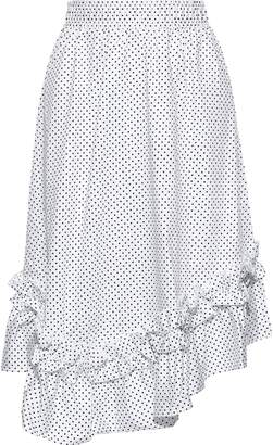 Clu Asymmetric Ruffle-trimmed Polka-dot Cotton-poplin Skirt