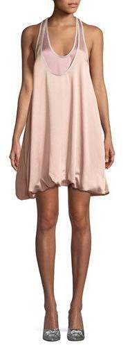 Valentino Sleeveless Bubble-Hem Hammered Satin Cocktail Dress