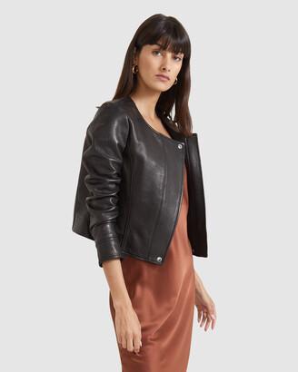 SABA Women's Black Leather Jackets - Lilia Leather Cropped Jacket - Size One Size, 4 at The Iconic