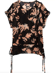 Maison Scotch Floral Ruffle Top - 12 - Black