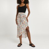 Thumbnail for your product : River Island Womens Pink floral print twist front midi skirt