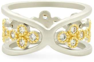 Freida Rothman Crystal-Embellished Two-Tone Ring
