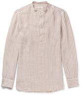 Eidos - Grandad-collar Striped Linen Shirt