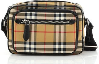 Burberry Front Pocket Crossbody Bag Vintage Check Canvas