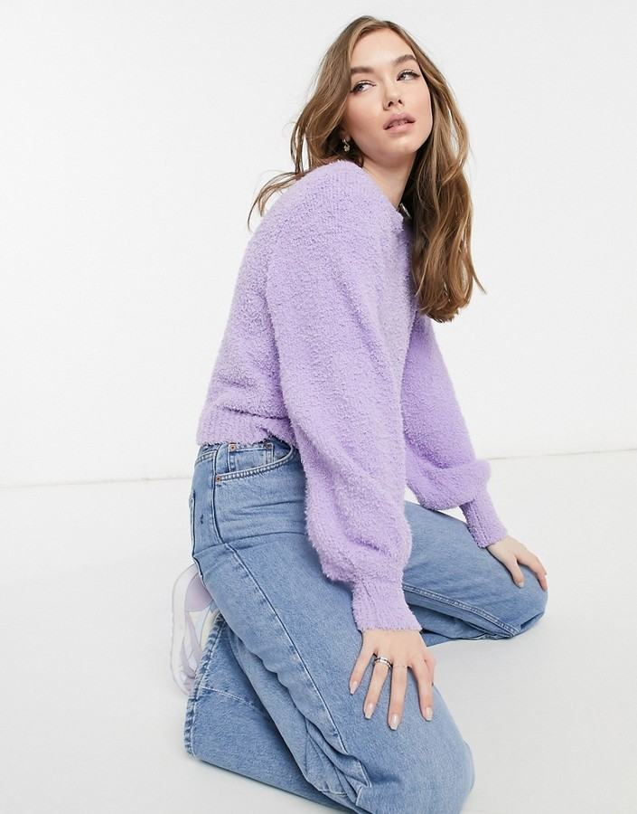 Bershka soft touch fluffy jumper in lilac