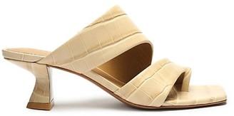 Mercedes Castillo Valentina Croc-Embossed Leather Mules