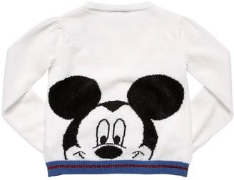 MonnaLisa Mickey Mouse Intarsia Wool Knit Cardigan