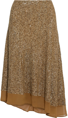 Joie Marsie Asymmetric Sequined Georgette Midi Skirt