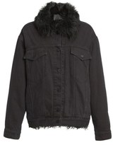 Alexander Wang Women's Denim Boyfriend Jacket With Genuine Shearling Trim