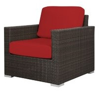 Brayden Studio Ronning Patio Chair with Cushions Fabric: Sunbrella Jockey Red