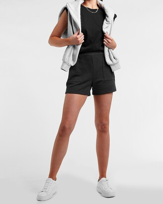 Express High Waisted Soft Knit Patch Pocket Pull-On Shorts