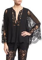 Elie Saab Bell-Sleeve Lace & Georgette Top, Black