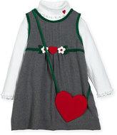 Florence Eiseman Jumper w/ Ribbed Turtleneck Blouse & Heart Purse, Size 2-6X
