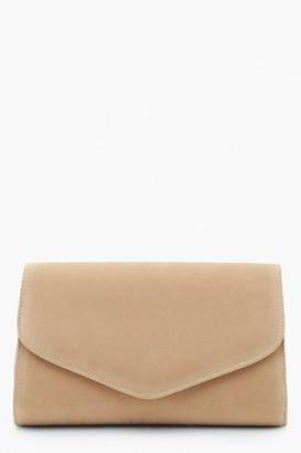boohoo Suedette Envelope Clutch Bag & Chain
