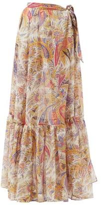 Etro Zante Tiered Paisley-print Cotton-blend Maxi Skirt - White Multi