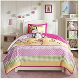 Mizone Kids Monkey Business 3 Piece Comforter Set, Pink, Twin