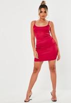 Missguided Petite Red Satin Slip Dress