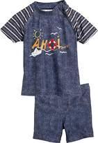 Playshoes Boy's 2-teiliges Bade-Set Ahoi mit UV-Schutz Swim Shorts, Blue (jeansblau)
