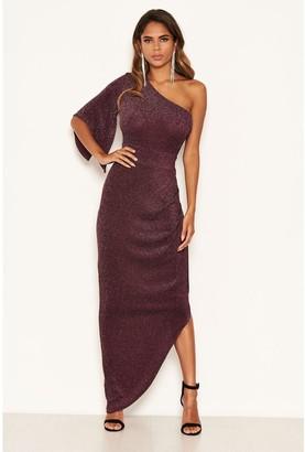 AX Paris One Shoulder Sparkle Dress - Plum