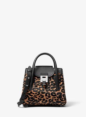 Michael Kors Bancroft Mini Leopard Calf Hair Satchel